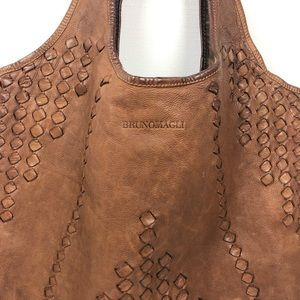Bruno Magli Tan Woven Leather Bag